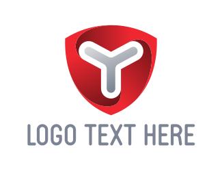 Letter Y - Red Shield logo design