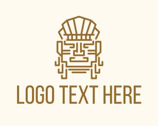 Mayan Warrior Head logo design
