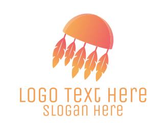Dreamcatcher - Feather Jellyfish logo design
