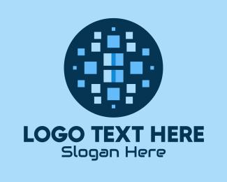 Pixelized - Blue Abstract Pixels  logo design