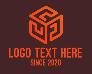Investment - Orange Pattern Cube logo design