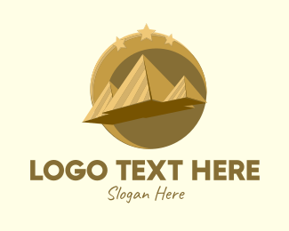 Pyramid - Gold Pyramid Travel  logo design