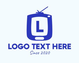Vlogging - Blue Television Lettermark logo design