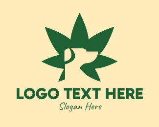 Marijuana Dispensary - Green Dog Cannabis Leaf logo design