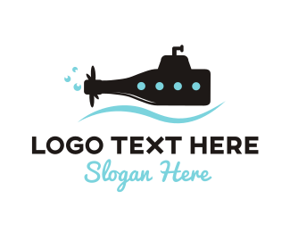 Black Wine - Bottle Submarine logo design