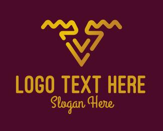 Fashion Design - Golden Letter V logo design