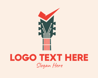 Check Mark - Guitar Sound Check logo design