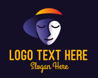 Mysterious - Shaded Face Hat logo design