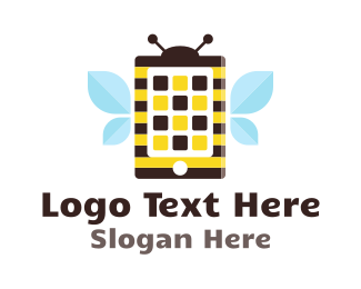 Cell Phone - Bee Application logo design