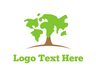 Wood - Map Tree logo design
