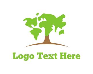 Earth - Map Tree logo design