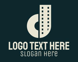 Camera - Filmstrip Letter D logo design