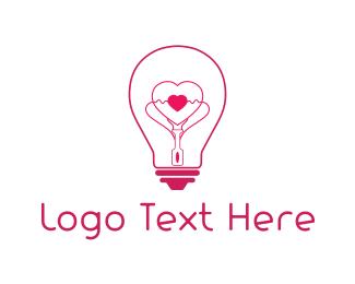 Romantic - Heart Light logo design