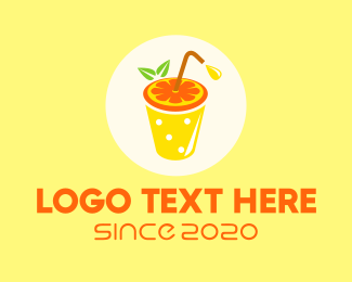 Bubble Tea - Orange Juice OJ Drink logo design