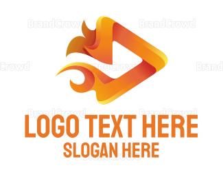 Video Player - Fire Media logo design