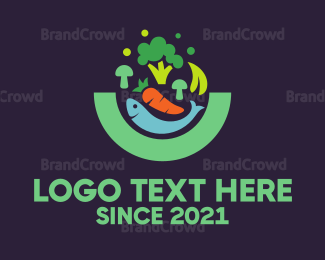 Bowl - Fish & Vegetables logo design