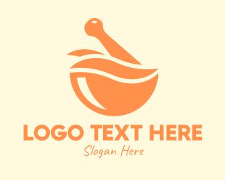 Mortar And Pestle - Orange Mortar & Pestle logo design