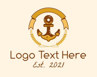 French Pastry - Wheat Donut Anchor Emblem  logo design