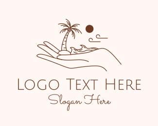 Maldives - Brown Palm Beach Island logo design
