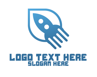 Business Solutions - Simple Blue Rocket logo design