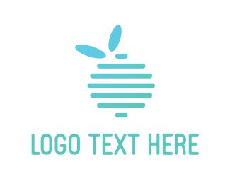 Apple - Blue Fruit logo design
