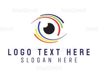 Eye Care - Colorful Eye Stroke logo design