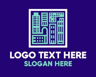Blue Urban Building Blueprint logo design