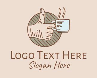 Thumb - Thumbs Up Coffee Drink logo design