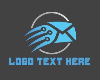 Sms - Blue Fast Mail logo design