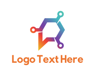 Letter P - Circuit Chat logo design