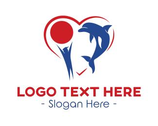 Ball - Dolphin Love logo design
