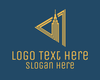 Skyline - Gold Real Estate Building  logo design
