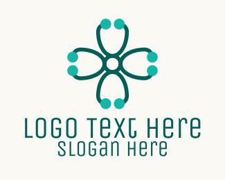 Doctor - Medical Cross Stethoscope logo design