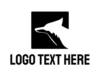 Coyote - Square Fox Silhouette logo design