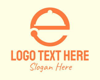 Kitchen Utensil - Orange Cloche Letter E logo design