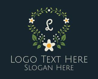 Coloring Book - Daisy Floral Wreath logo design