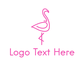 Pink - Beauty Pink Flamingo logo design