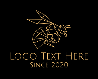 Black And Gold - Gold Bee Wasp Monoline logo design