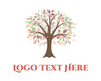 Nail - Calm Autumn Tree logo design