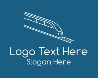 Public Transit - Blue Bullet Train logo design