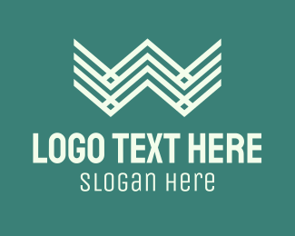 W - Geometric Wave Letter W logo design