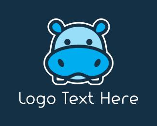 Madagascar - Blue Hippopotamus logo design