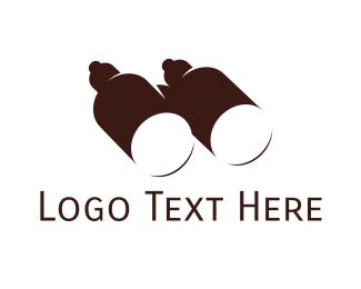 Telescope - Brown Binoculars logo design