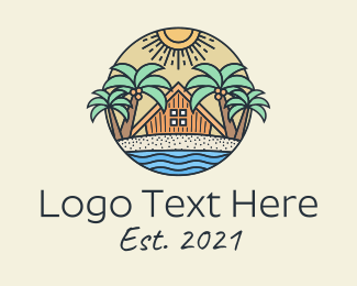 Sunshine Coast - Tropical Beach Hut Resort logo design