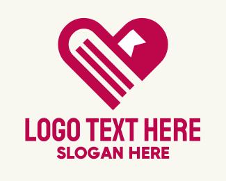 Paperwork - Pink Heart Books logo design