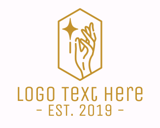 Beauty Gold Star Hand Logo Maker