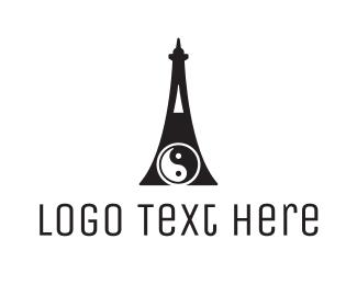 Karate - Yin Yang Tower logo design