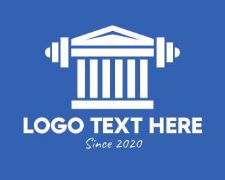 Parthenon - Greek Parthenon Gym Barbell logo design