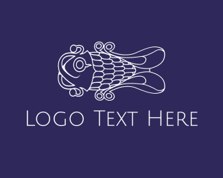 Seafood - Curly White Fish logo design