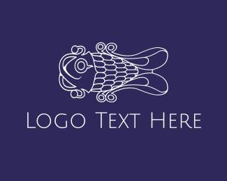 Swim - Curly White Fish logo design